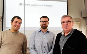 Foto:  (f.v.) Systemutviklerne Vegar Vikan og Rune Pedersen sammen med administrerende direkt�r Eivind Simonsen i Finale Systemer.