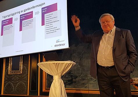 Foto: Inkassobransjens nestor, Baard Sig. Bratsberg, på Kredinors Energiseminar 2019