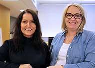 Foto: prosjektleder Siri Jensen, leder for robotiseringsprogrammet i Kredinor og Ingjerd Thurmer som er markedssjef.
