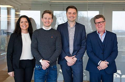 Foto: Ingjerd Thurmer, markedssjef i Kredinor, Sverre Lunde Pedersen, Audun Rønningen Danielsen, kommersiell direktør i Kredinor og Tor Berntsen, administrerende direktør i Kredinor