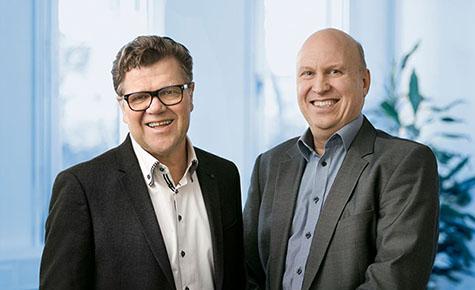 Foto: Markerte starten for Kredinor i Danmark i dag. Fra venstre: Tor Berntsen, adm. direktør og Jørgen Renè Byrholt, direktør for Kredinor Danmark. Foto: Bjarni B Jacobsen