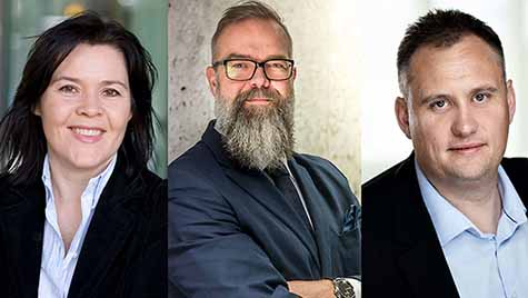 Foto: Paal Fure, administrerende direktør i dentsu Norge og Nord Europa, Magnus Solstad, analysesjef i Kredinor SA, Elisabeth Holvik