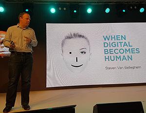 Foto: Den belgiske forfatteren, grunderen og økonomen Steven Van Belleghem bidro med et meget interessant foredrag på Kredinors Proffseminar 2017