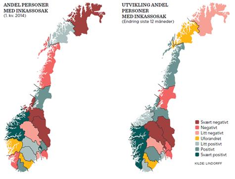 Norgeskartet viser kredittverdigheten til personer og utvikling fordelt p� fylke. Kartet til venstre viser en rangering basert p� andel personer med inkassosak per fylke og kartet til h�yre viser endring i antall personer med inkassosak i forhold til samme kvartal i fjor.