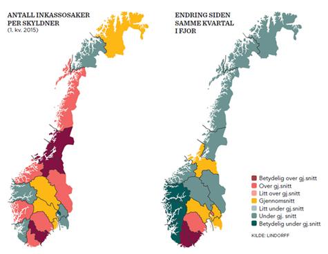 Foto: Norgeskartet viser utviklingen i antall inkassosaker for norske privatpersoner fordelt p� fylke, samt endring fra samme kvartal i fjor.