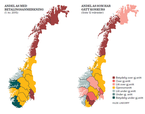 Foto: Norgeskartet viser andel norske aksjeselskaper med betalingsanmerkninger i siste kvartal fordelt p� fylker, samt andel AS som har g�tt konkurs siste 12 m�neder fordelt p� fylker.