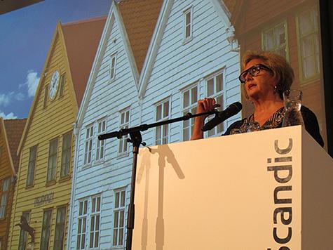 Foto: Bergens ordf�rer, Trude Drevland, �nsket alle velkommen til Bergen.