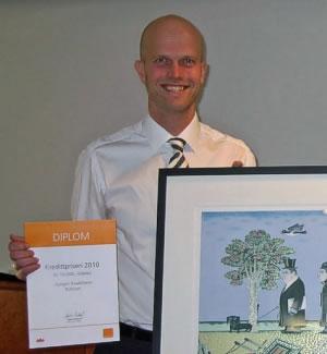 Foto: Hallgeir Kvadsheim ble tildelt kredittprisen for 2010 av Norsk Kredittforum