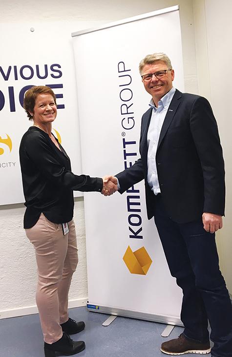 Foto: Økonomidirektør Elin Maaren i Komplett og Administrerende direktør Sven Ingebretsen i Sergel